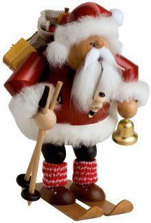 Räuchermann Weihnachtsmann mit Ski