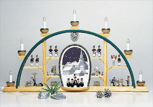 Schwibbogen Seiffener Kirche mit Kurrende elektr.