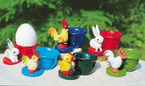 6 Eierbecher mit Tierfiguren