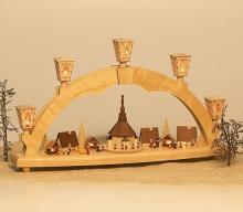 Schwibbogen Seiffener Weihnachtsmarkt mit Miniaturen
