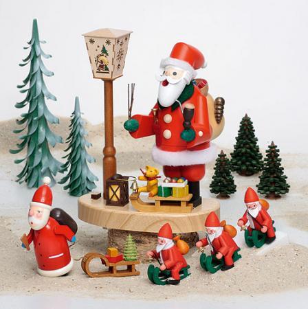 Räuchermann Weihnachtsmann an Laterne mit Batteriebetrieb