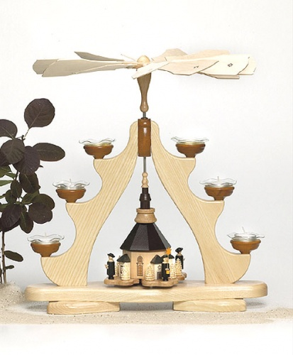 Pyramide Seiffener Kirche für Teelichter