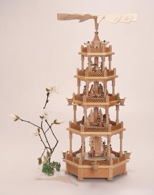 Pyramide Weihnachtsgeschichte 5 Etagen, mit Spielwerk