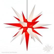 Herrnhuter Stern, Kunststoff 130cm, weiß/rot