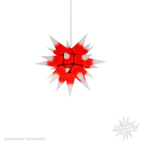 Herrnhuter Stern, Papier 40cm, weiß mit rotem Kern