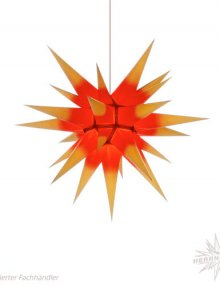 Herrnhuter Stern, Papier 60cm, gelb mit rotem Kern