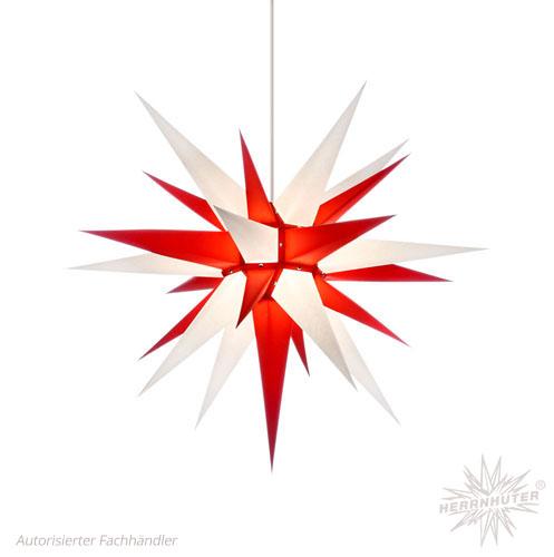 Herrnhuter Stern, Papier 70cm, weiß/rot