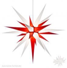 Herrnhuter Stern, Papier 80cm, weiß/rot