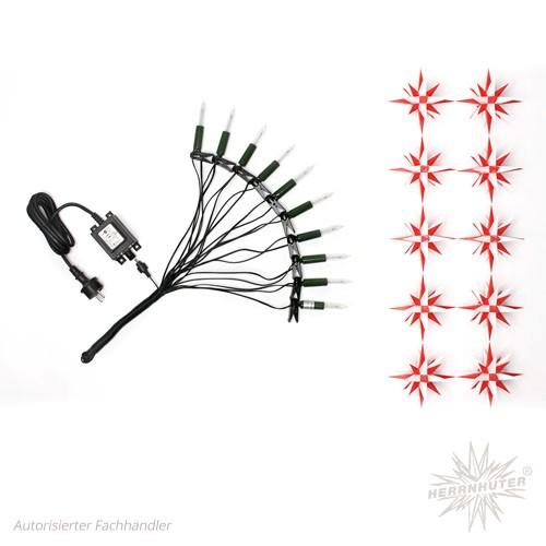 Herrnhuter Sternenkette, weiß/rot