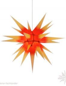 Herrnhuter Stern, Papier 70cm, gelb mit rotem Kern