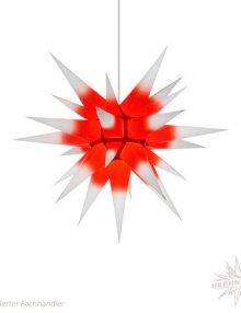 Herrnhuter Stern, Papier 60cm, weiß mit rotem Kern