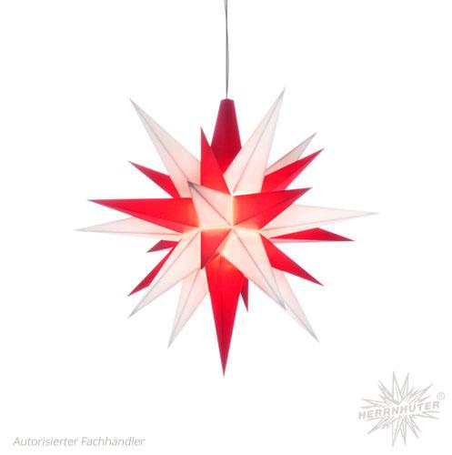 Herrnhuter Stern, Kunststoff 13cm, weiß/rot