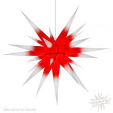Herrnhuter Stern, Papier 80cm, weiß mit rotem Kern