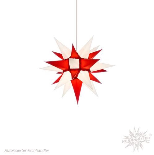 Herrnhuter Stern, Papier 40cm, weiß/rot