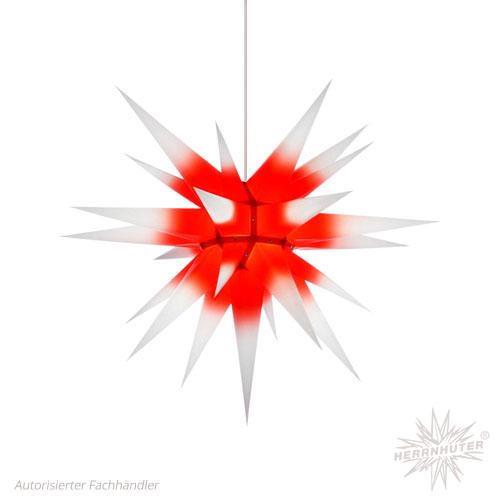 Herrnhuter Stern, Papier 70cm, weiß mit rotem Kern