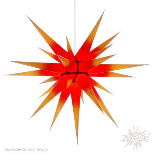Herrnhuter Stern, Papier 80cm, gelb mit rotem Kern