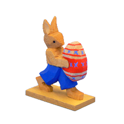 Hase mit Ei, laufend, blau