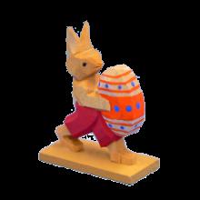 Hase mit Ei, laufend, rot