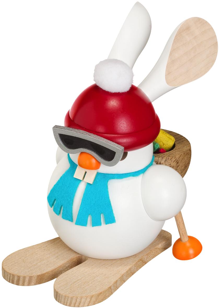 Kugelräucherfigur Ski Hase