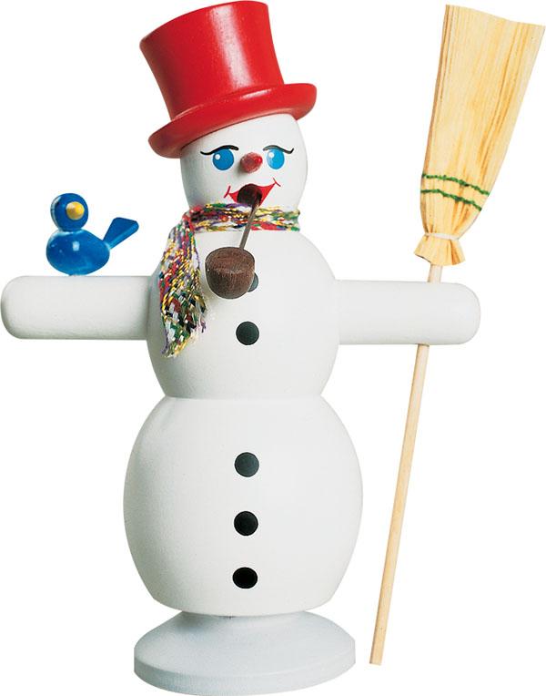Räucherfigur Schneemann mit rotem Hut