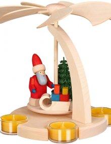 Pyramide, Bogenpyramide, klein, Weihnachtsmann mit Schlitten