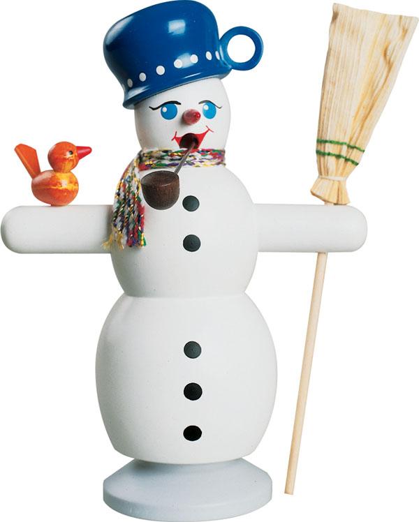 Räucherfigur Schneemann mit blauem Topf