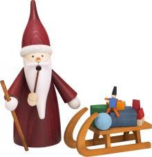 Räucherfigur Weihnachtswichtel mit Schlitten