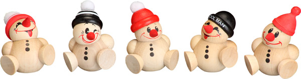 Kugelfiguren Cool Man Junior, 5er Satz, Schneemann, Behang