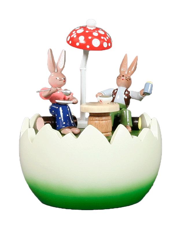 Musikdose, Spieldose Hasenpaar am Tisch