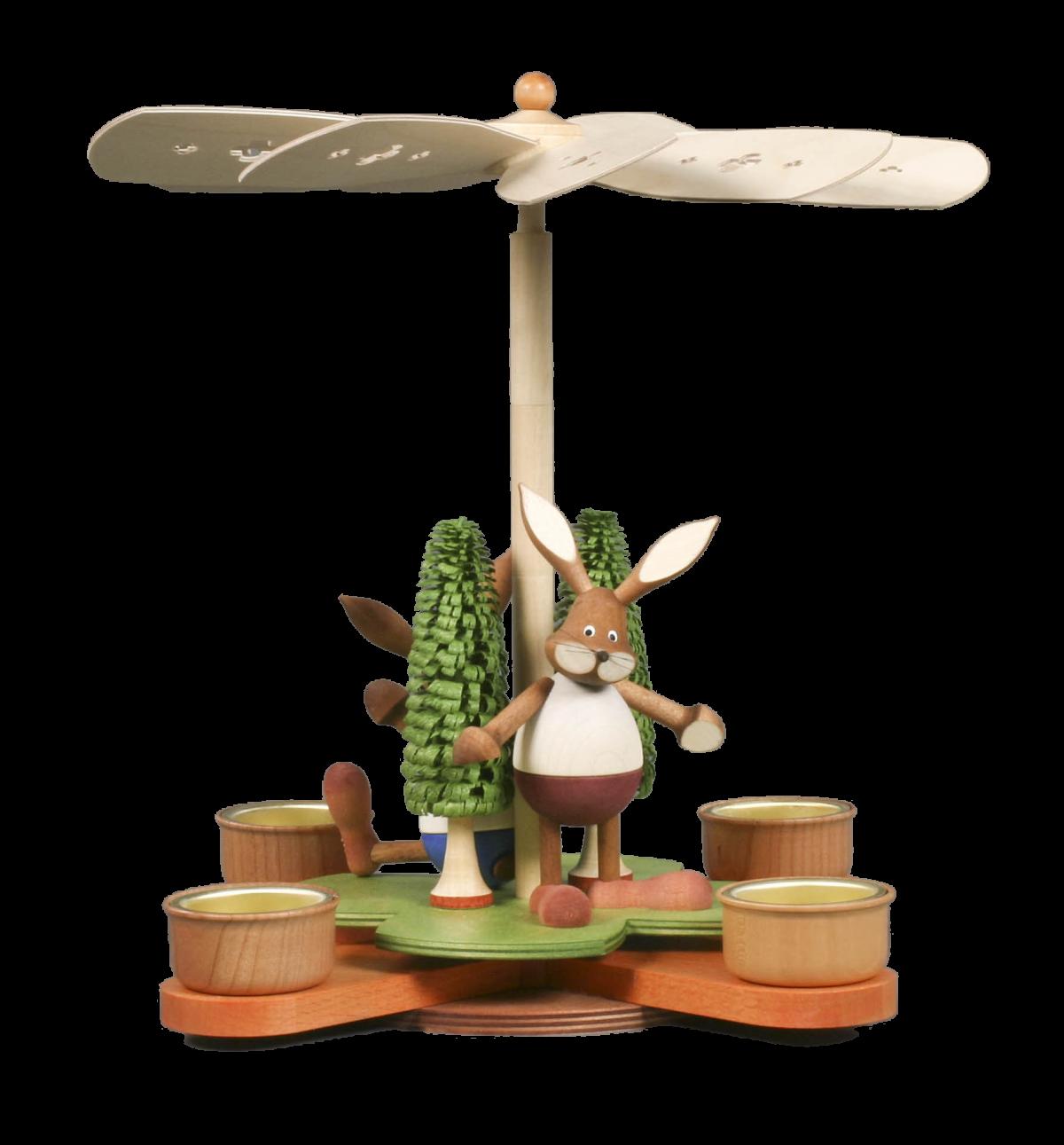 Osterpyramide Glücksklee mit Hasen, braun