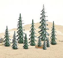 Spiralbäume grün-weiß / 17 cm