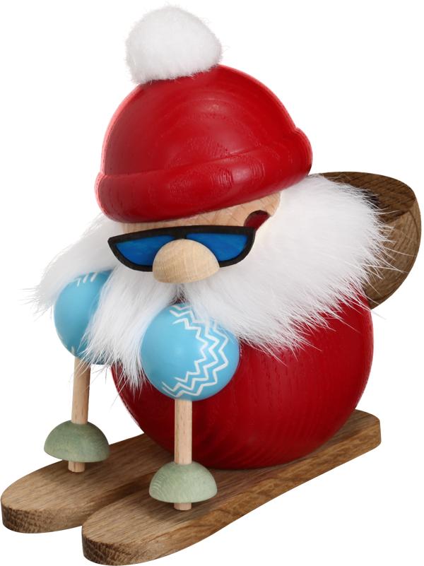 Kugelräucherfigur Nikolaus läuft Ski