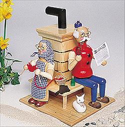 Räuchermann Opa und Oma am Ofen