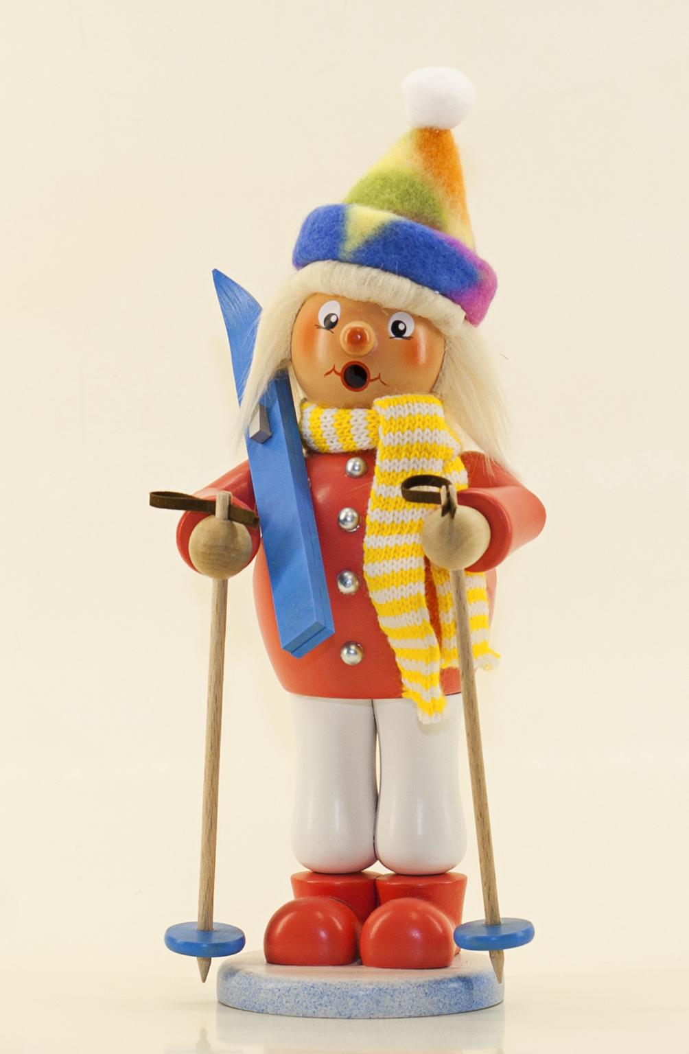 Räuchermann Skifahrerin (stehend)
