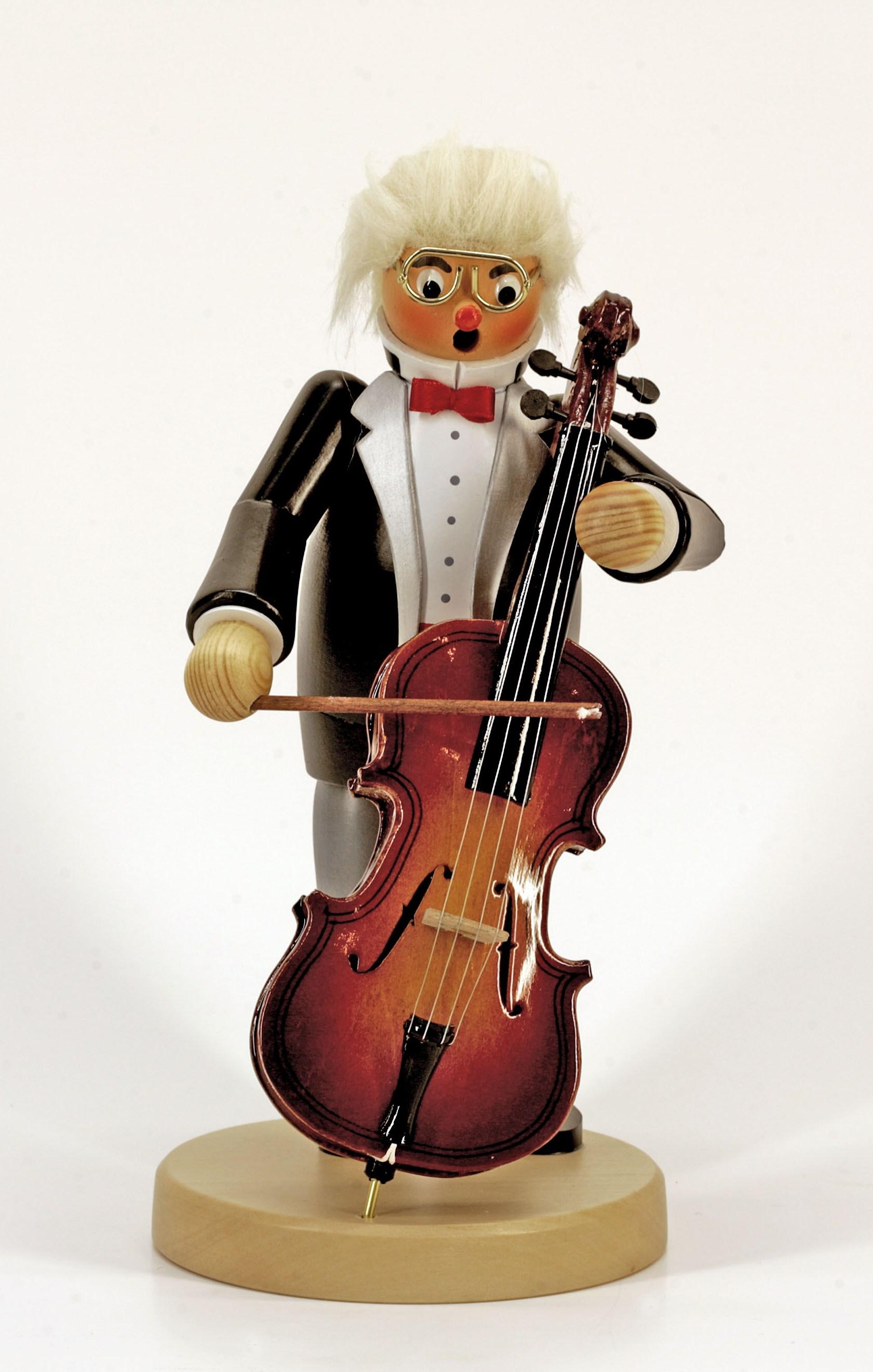 """Räuchermann der Cellist, mit Spieluhr, Melodie: """"die Zauberflöte"""""""