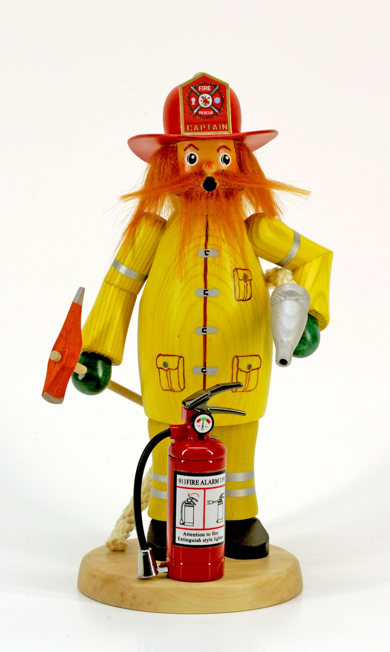 Räuchermann Feuerwehrmann Roter Fred mit Feuerzeug