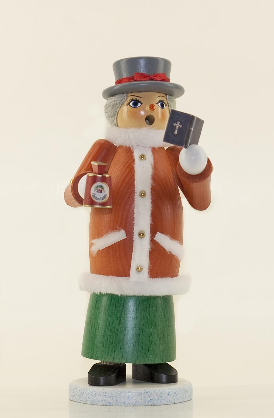Räuchermann Weihnachtssinger Dame mit Sammelbüchse