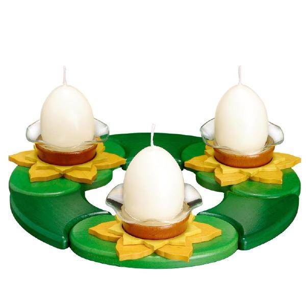 Osterkranz, Teelichthalter mit 3 Eierkerzen
