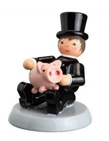 """Sammelfigur Glücksfeger """"sitzend mit Schwein"""""""