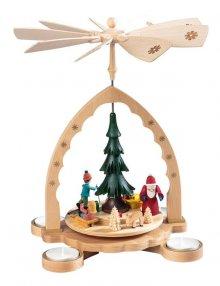 Pyramide Weihnachtswald, bunt für Teelichter