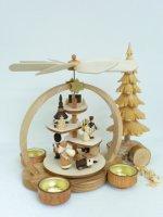 Stufenpyramide Weihnachtsmann, natur, für Teelichter