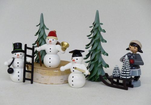 3 Schneemänner, Essenkehrer, Kommolitone, Weihnachtsmann