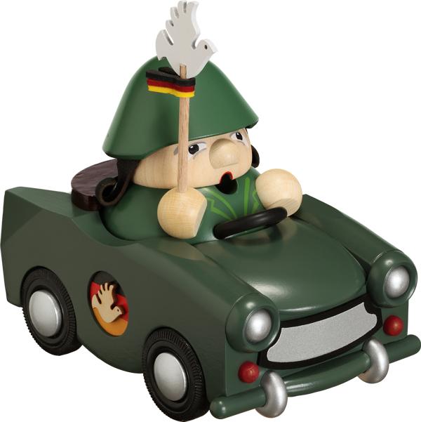 Kugelräucherfigur Reservist im Trabant - **Neu-limitiert  2014**