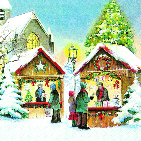 """Servietten, Motiv """"Weihnachtsmarkt"""""""