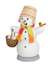 Räuchermann Schneemann mit Schneeballkorb