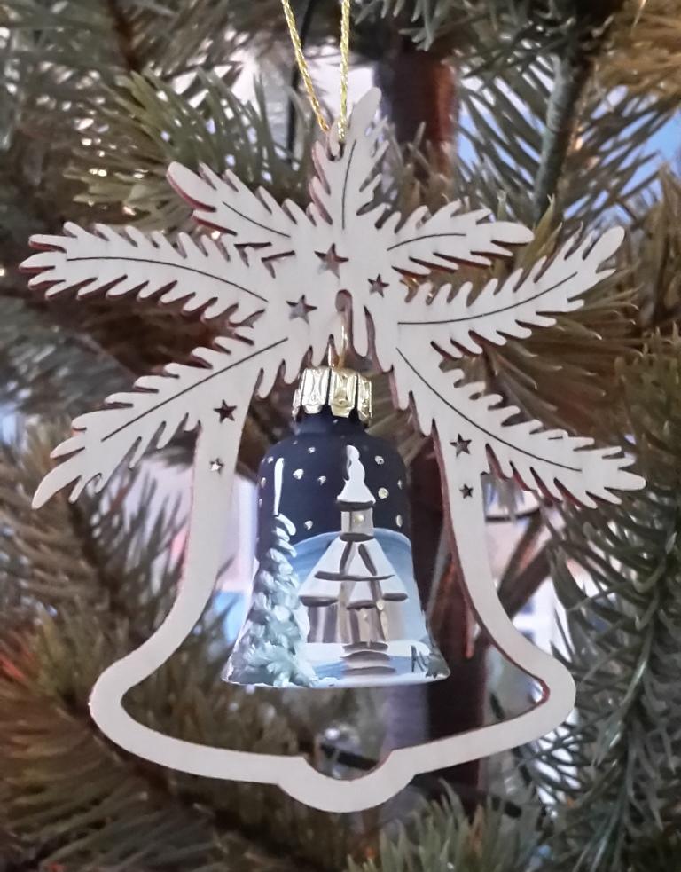 Baumbehang Glas Glocke, handbemalt, Seiffner Kirche