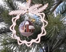 Baumbehang Glaskugel, handbemalt, Kirche