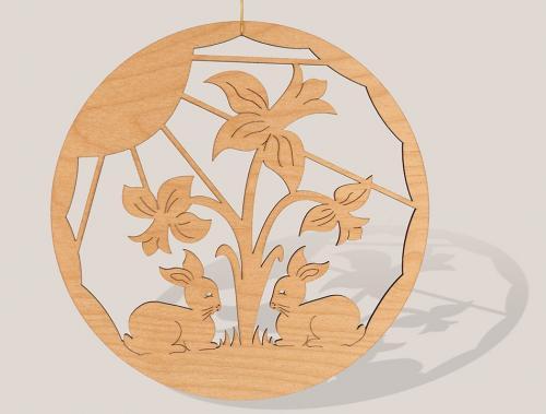 Fensterbild Hasen mit Narzissen