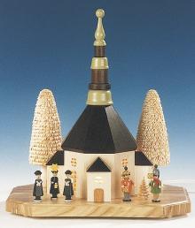 Seiffener Kirche, groß, mit Kurrende und Laternenkinder, elektrisch ** Neu 2016**