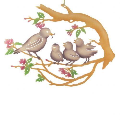 Fensterbild Vogelfamilie **Neu 2015**